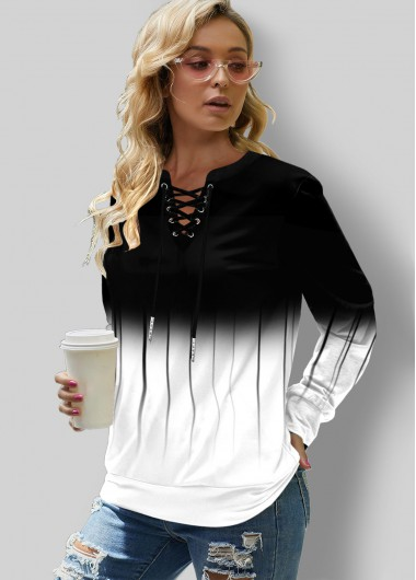 Black&White Ombre Lace Up Long Sleeve Sweatshirt - L