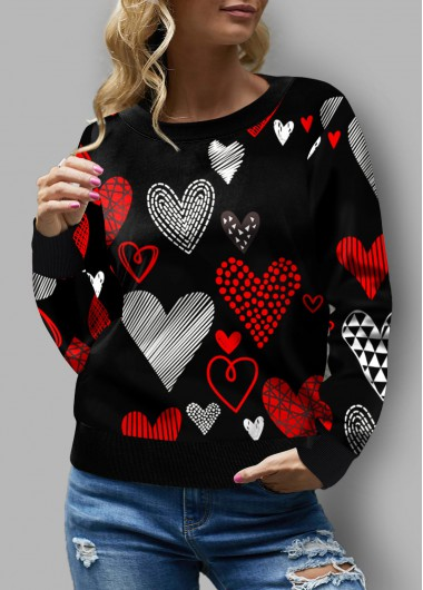Heart Print Round Neck Long Sleeve Sweatshirt - L