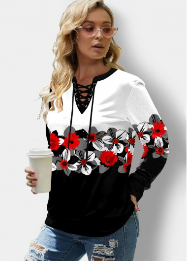 Floral Print Lace Up Color Block Sweatshirt - L