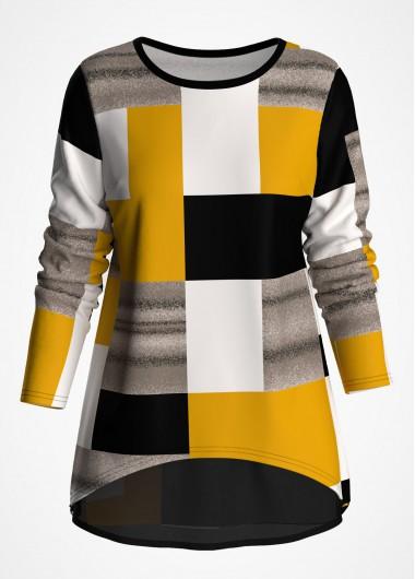 Geometric Print Chiffon Panel Long Sleeve T Shirt - L