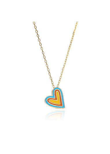 Rainbow Color Silver Heart Design Necklace - One Size