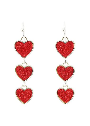 Red Heart Design Metal Earring Set - One Size