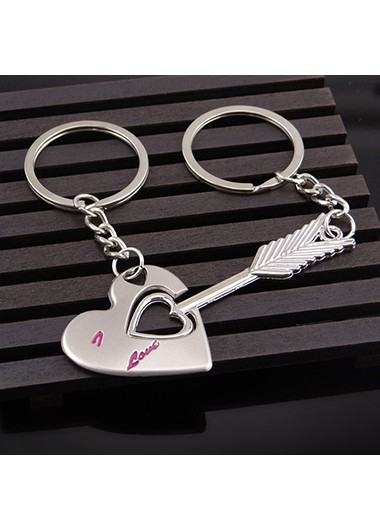 Arrow and Heart Design Silver Metal Keychain Set - One Size