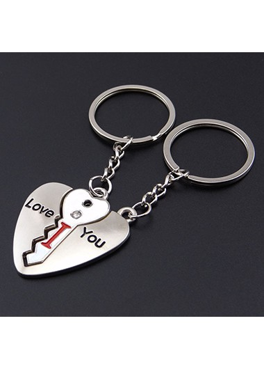Letter Design Open Heart Silver Keychains - One Size