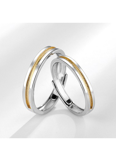 Silver Metal Adjustable Ring for Men - One Size