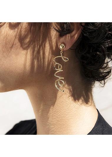 Letter Design Gold Metal Earring Set - One Size