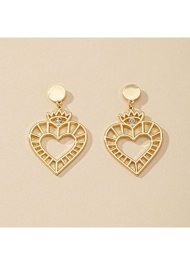 1.2 X 2.0 Inch Gold Metal Heart Earring Set - One Size