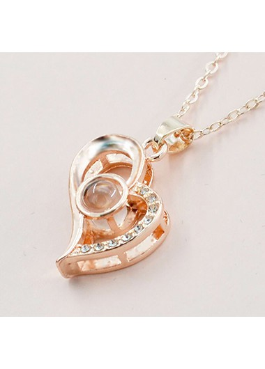 Gold Metal Heart Pendant Letter Necklace - One Size