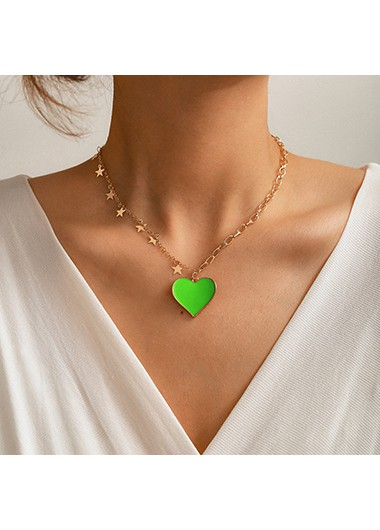 Green Heart Pendant Star Metal Necklace - One Size
