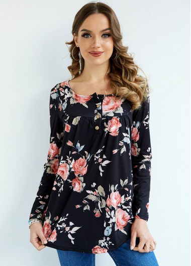 Floral Print Long Sleeve Button Pleated Blouse - 2XL