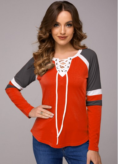 Lace Up Contrast Long Sleeve T Shirt - 2XL