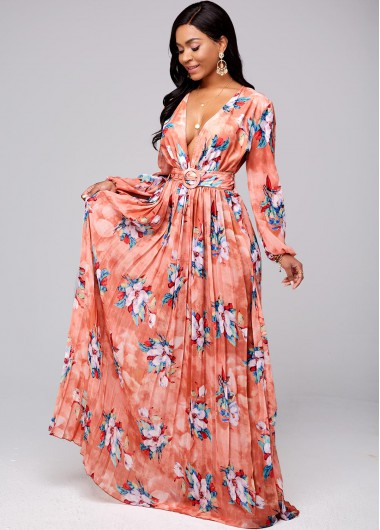 Buckle Belted Floral Print Pleated Hem Dress - 2XL