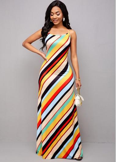 Rainbow Stripe Spaghetti Strap Maxi Dress - 2XL
