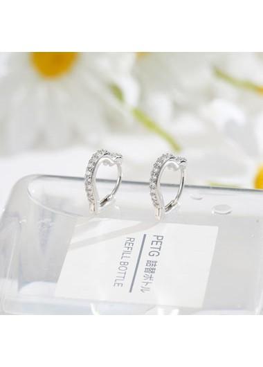 0.6 X 0.6 Inch Rhinestone Detail Silver Earring Set - One Size