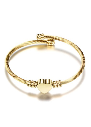 Steel Wire Braided Heart Shape Gold Bangle - One Size