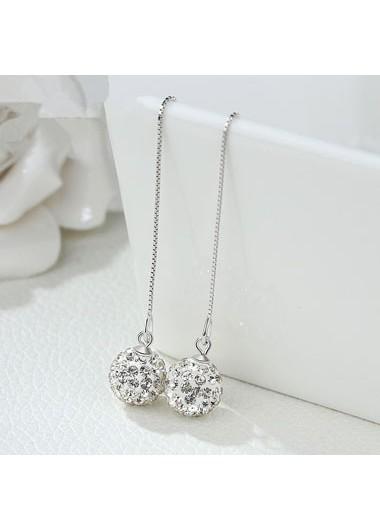 Silver Chain Tassel Shambhala Ball Earring Set - One Size