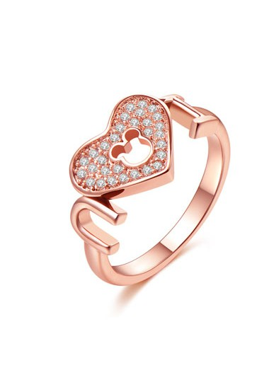 Heart Design Rhinestone Gold Metal Ring - One Size