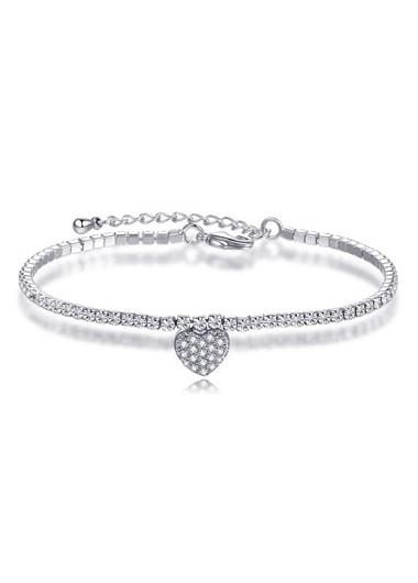 Heart Design Silver Metal Rhinestone Bracelet - One Size