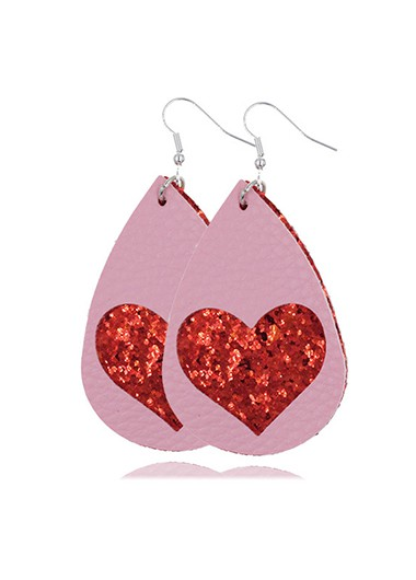 Water Drop Shape Heart Faux Leather Earring Set - One Size
