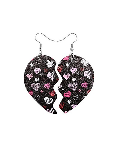Faux Leather Heart Print Earring Set - One Size