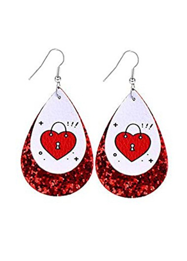 Faux Leather Sequin Water Drop Design Earring Set - One Size