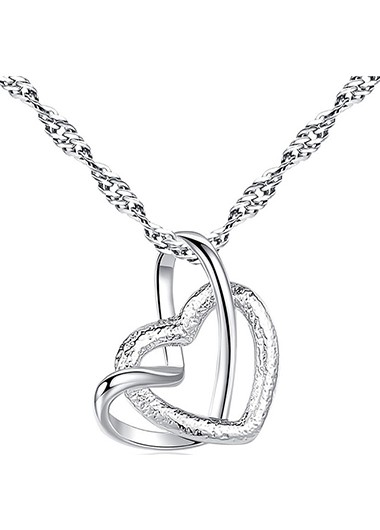Double Heart Design Silver Metal Necklace - One Size