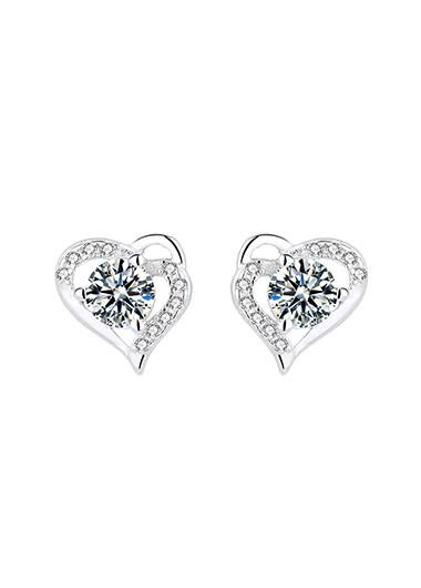 0.4 X 0.4 Inch Silver Heart Rhinestone Ear Studs - One Size