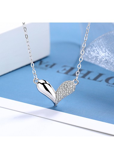 Rhinestone Detail Heart Design Silver Necklace - One Size