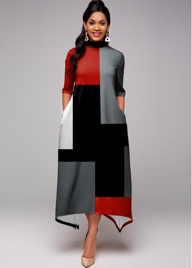 Contrast Pocket Half Sleeve Maxi Dress - L