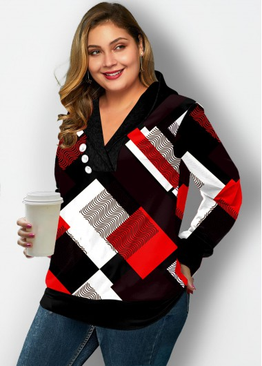 Plus Size Plaid Decorative Button Hoodie - 1X