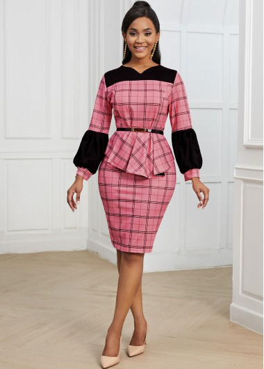 Contrast Plaid Belted Long Sleeve Bodycon Dress - 2XL