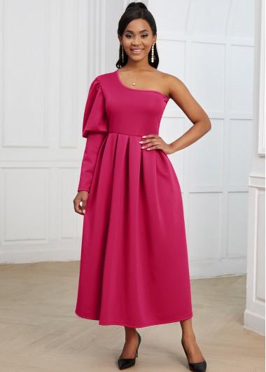 Asymmetric Neck Puff Sleeve One Shoulder Dress - 2XL