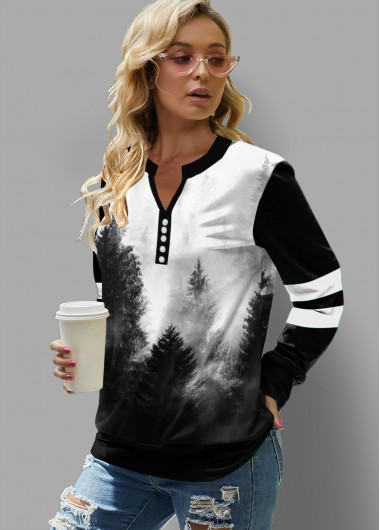 Ink Painting Forest Print Split Neck Sweatshirt - L