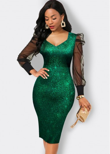 St. Patrick'S Day Mesh Puff Sleeve V Neck Hot Stamping Dress - L