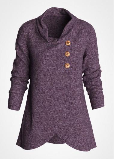 Purple Asymmetric Hem Cowl Neck Decorative Button Tunic Top - L