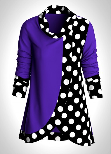 Plus Size Polka Dot Asymmetric Hem Tunic Top - 1X