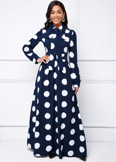 Turndown Collar Polka Dot Long Sleeve Dress - L