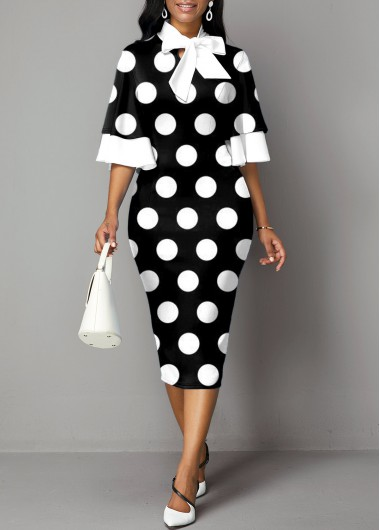 Polka Dot Bowknot Flare Sleeve Dress - L