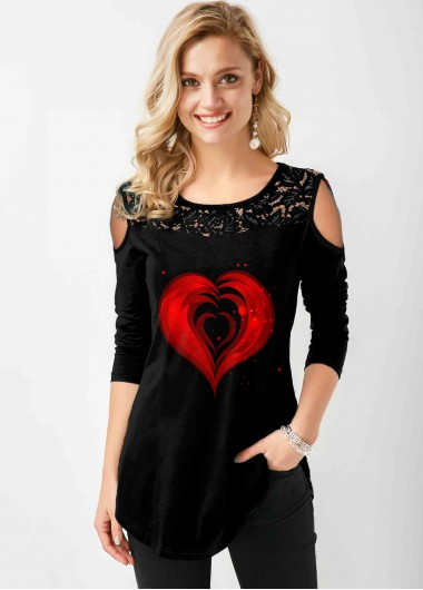 Lace Stitching Cold Shoulder Heart Print T Shirt - L