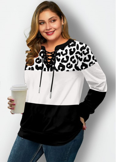 Plus Size Leopard Lace Up Sweatshirt - 1X