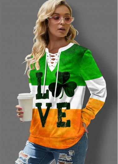 St. Patrick'S Day Clover And Letter Print Lace Up Long Sleeve T Shirt - L