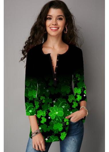 Gradient Shamrock Print 3/4 Sleeve T Shirt - L