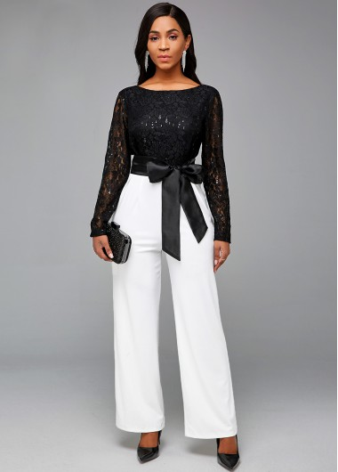 Lace Stitching Sequin Contrast V Back Jumpsuit - L