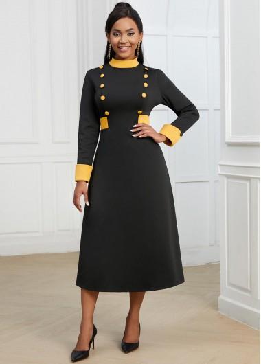 Decorative Button Contrast Long Sleeve Dress - L