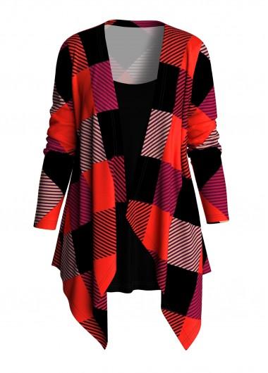 Plus Size Faux Two Piece Plaid T Shirt - 1X