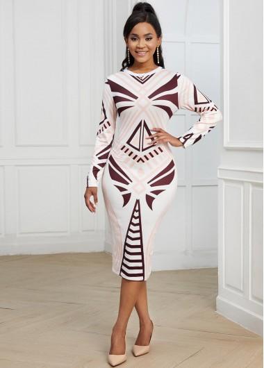 Geometric Print Round Neck Long Sleeve Dress - L