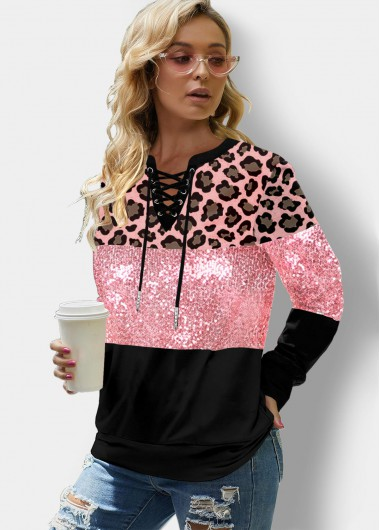 Pink Leopard Sequin Panel Lace Up Casual Sweatshirt - L