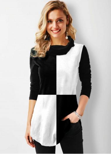 Color Block Long Sleeve Tunic Top - L