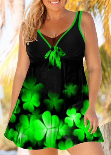 Plus Size Ombre Clover Print Swimdress and Shorts - 1X