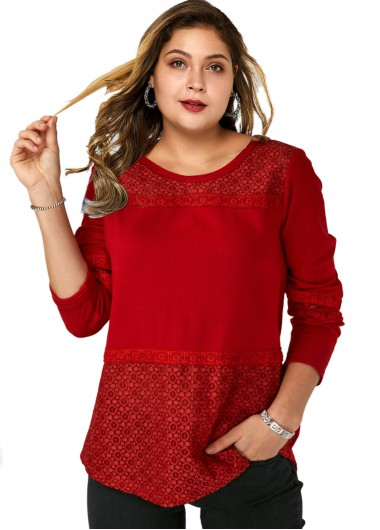 Plus Size Lace Stitching Round Neck T Shirt - 1X
